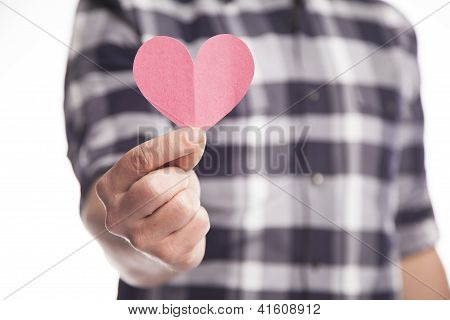 Man Holding Paper Heart