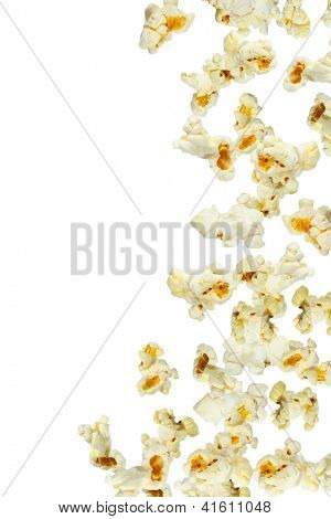 Fresh popcorn falling, close up
