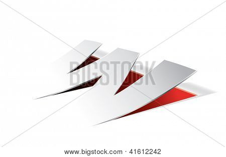 Paper folding with letter W in perspective view. Editable vector format.