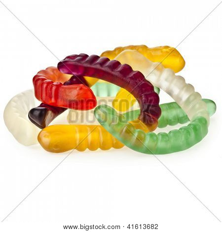 Colorful Sweet Jelly Worms Snakes isolated on white background