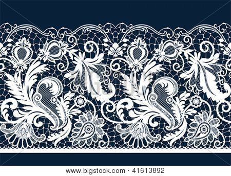 White seamless lace. All elements and textures are individual objects. Vector illustration scale to any size.