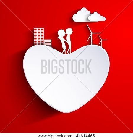 Beautiful St. Valentine's Day background, gift or greeting card decorated with paper heart. cute couples and urban city on red. EPS 10.