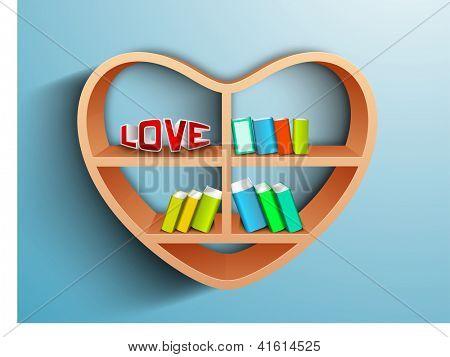 Wooden heart shape bookshelf having books and text LOVE on blue, Saint Valentines Day love background. EPS 10.