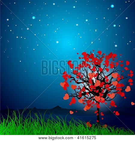Valentine's Day love card or greeting card with love tree on grey background. EPS 10.