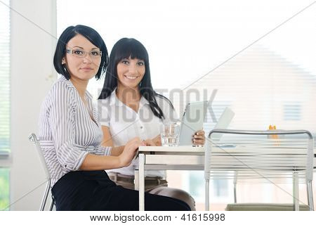Two cheerful smiling young business women working at office