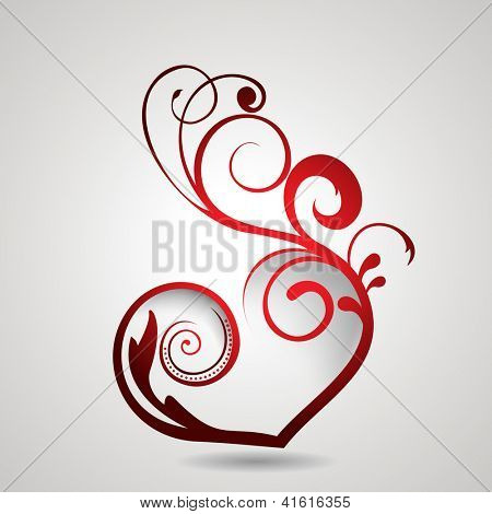 Valentine's Day background, gift or greeting card with red floral heart on grey background.