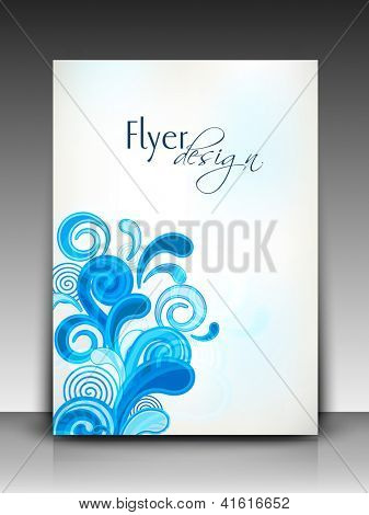 Professional business flyer template or corporate banner with floral pattern for publishing, print and presentation.