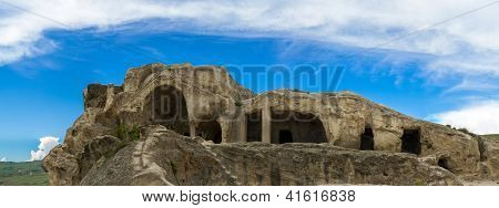 Panorama Of Mountains And Prehistoric Ruins Of 3,000 Years Old  Cave-dwelling Town,palace Of Tamara