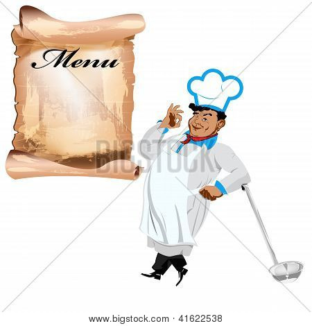 Funny happy Chef and menu on a white background