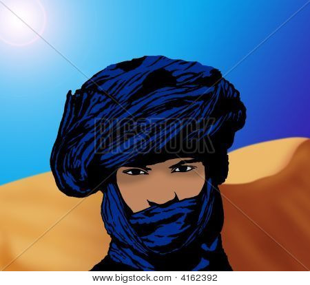 Portrait Of A Touareg In The Desert