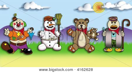 Characters For Children On Coloful Background