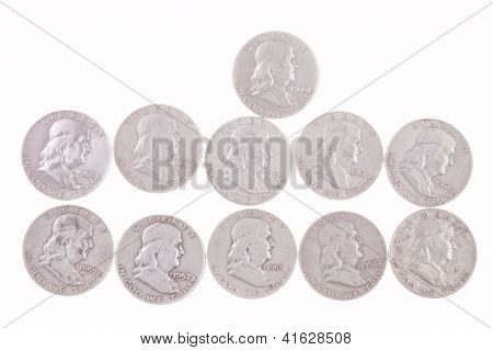 collection of 11 Silver Ben Franklin Half Dollars