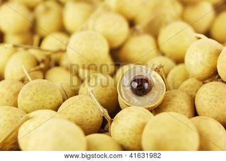Full frame image of large group of thai longans. Small depth of field with focus on the peeled half longan