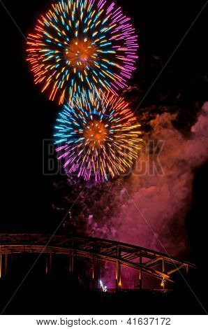 Fireworks at the hohenzollern bridge