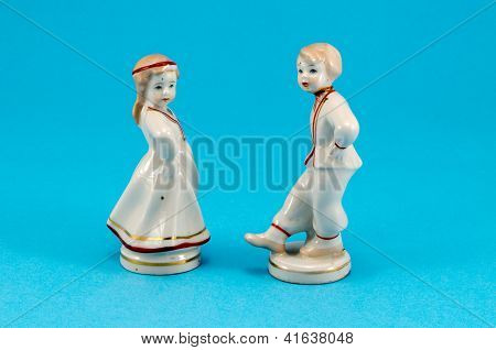 Two Ceramic Toy Decor Dancers Boy Girl On Blue