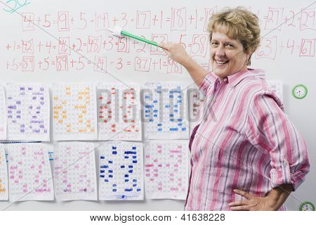 Portrait of a confident mature female teacher teaching with a stick on whiteboard