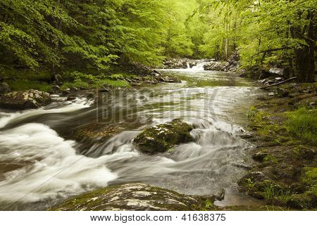 Rushing water of Middle Fork River in the spring