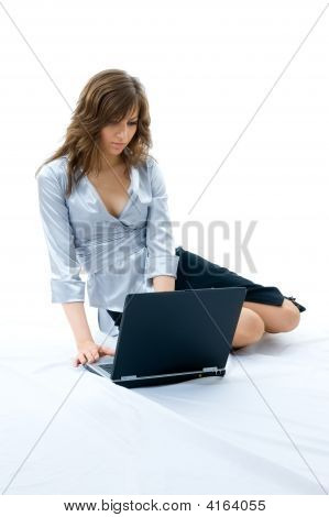Beautiful Girl Using Laptop