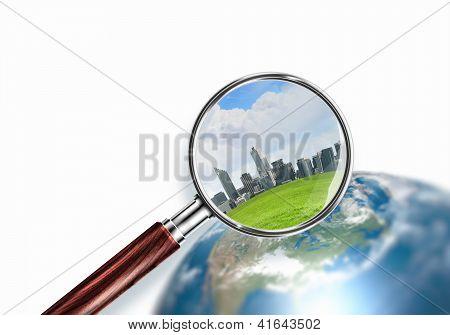 konzeptionelle Mini Planet mit einer Stadt drauf