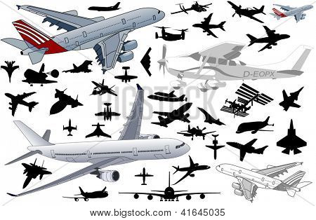 Big set of Airplanes in vector art in very high detail
