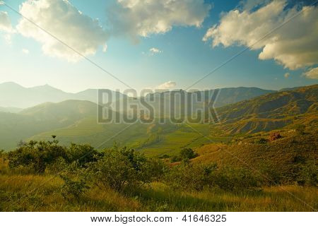 Summer landscape with vineyard, mountains and sky