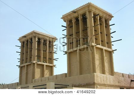 Close up of arabic wind tower