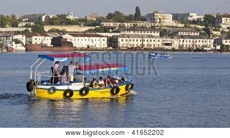 Sevastopol. Ukraine.- Sentember 2:the Walking Boat At Excursion On City Bays. Sentember-24.2012 In S