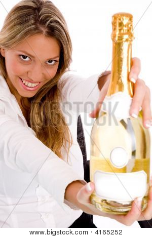 Top View Of Businesswoman Showing Champagne Bottle