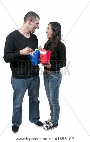 Woman And Man Eating