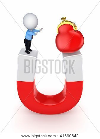 3d small person and red purse on a horseshoe.