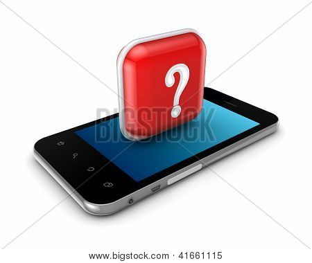 Mobile phone with a symbol of query mark.