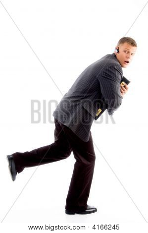 Scared Businessman Running