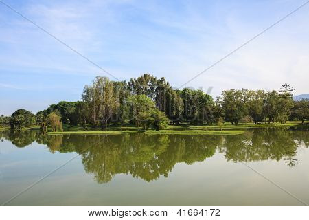 Reflection of Lake garden in Taiping Malaysia