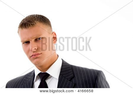 Close Up Of Handsome Businessman Looking At Camera
