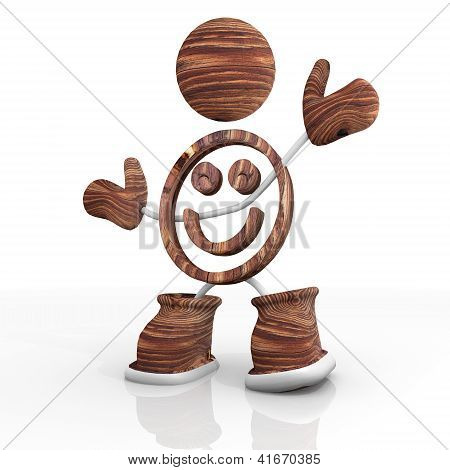 wooden smile 3d character