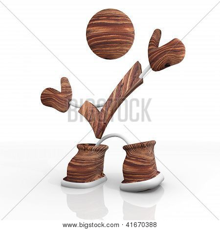 check wooden 3d character