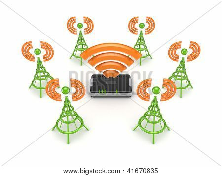 Stylized antennas around router.
