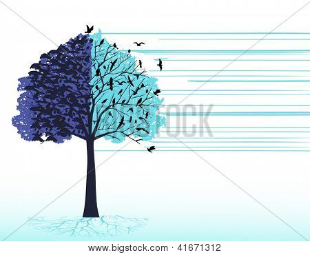tree birds (murder / flock or crows)