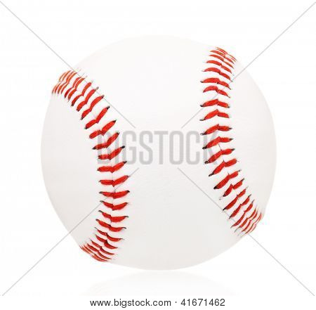 Single baseball ball, isolated on white background