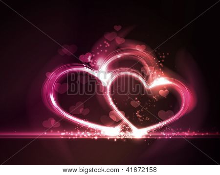 Overlying semitransparent heart shapes with light effects form glowing hearts frame in shades of pink, purple and red on dark red background. Contains gradient mesh elements.  Vector available.