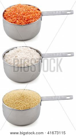 Staple Ingredients - Lentils, White Rice And Cous Cous - In Cup Measures