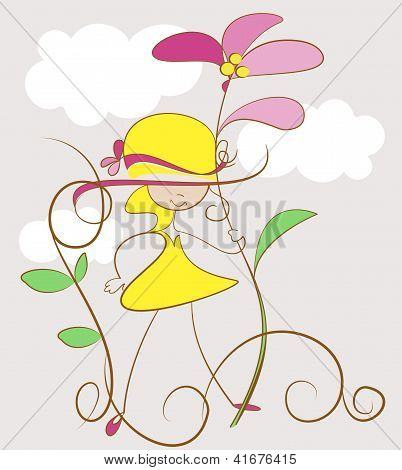 Funny girl with flower