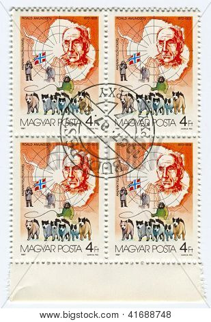 HUNGARY - CIRCA 1987: Postage stamps printed in Hungary dedicated to Roald Amundsen (1872-1928), Norwegian explorer of polar regions, circa 1987.