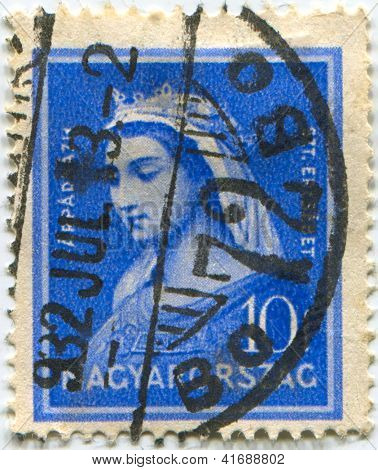 HUNGARY - CIRCA 1932: Postage stamps printed in Hungary dedicated to Elizabeth of Hungary (1207-231), Princess, Countess, Catholic saint, circa 1932.