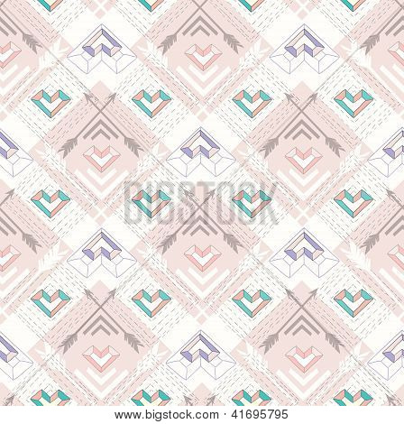 Abstract Geometric Seamless Pattern. Aztec Style Pattern With Hearts. Cute Background For Children O