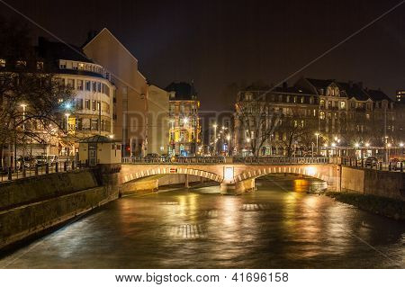 Pont National Over Ill River In Strasbourg - Alsace, France