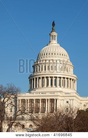 U.s. Capitol Dome Rear Face Against Clear Blue Sky