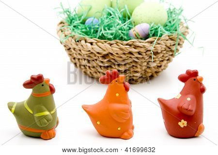 Eastereggs with Chicks in Basket