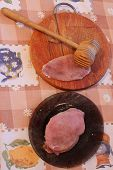 image of loin cloth  - process of cooking of chops meat board and hammer - JPG