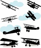 foto of biplane  - Collection of silhouettes of various airplanes - JPG